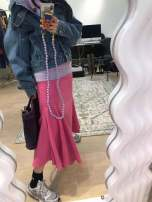 skirt Spring 2021 S waist 64, 95 hips 90, m waist 68, 95 hips 94 Black (reserved), white (reserved), pink (reserved), black (XH), white (XH), pink (XH) longuette commute High waist Solid color Type A polyester fiber pocket