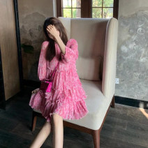 Dress Spring 2021 Picture color S,M,L Short skirt singleton  three quarter sleeve commute Solid color puff sleeve 25-29 years old More than 95% other