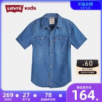 shirt male Levi's / Levi's summer Short sleeve leisure time Solid color cotton Lapel and pointed collar Cotton 100% LV2022196-193896 Summer 2020 100/3 110/4 110/5 120/6 130/7 140/S 150/M 160/L 160/XL Lake grey blue