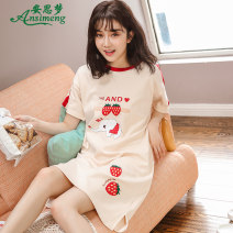 Nightdress Ansdream M L XL XXL Sweet Short sleeve Leisure home Middle-skirt summer Cartoon animation youth Crew neck cotton printing More than 95% Knitted cotton fabric R5213 Summer of 2019 Cotton 100% Pure e-commerce (online only) Cotton 100%