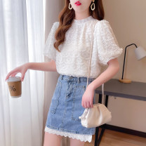 Dress Summer 2021 Lace shirt, denim skirt, lace shirt + denim skirt S,M,L,XL Short skirt Two piece set Short sleeve commute Crew neck High waist Solid color A button A-line skirt puff sleeve Others 18-24 years old Type A lady 81% (inclusive) - 90% (inclusive) Lace cotton