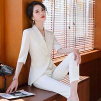 Professional dress suit S,M,L,XL,XXL,XXXL White, black, white coat + pants, black coat + pants Summer 2020 Long sleeves loose coat Suit skirt 31% (inclusive) - 50% (inclusive) polyester fiber