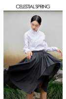 skirt Autumn 2020 S L M grey Mid length dress grace High waist A-line skirt Type A SLEAWD10A More than 95% Celestial Spring  wool Wool 100% Pure e-commerce (online only)
