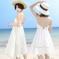 Dress Summer of 2018 white S,M,L,XL Mid length dress singleton  Sleeveless Sweet V-neck High waist Solid color zipper Big swing other camisole 25-29 years old Type A Lotus leaf, open back, hook flower, hollow out, lace More than 95% Chiffon polyester fiber Bohemia