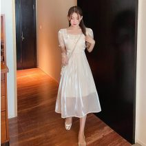 Dress Summer 2021 Champagne long, champagne short S,M,L,XL longuette singleton  Short sleeve commute square neck middle-waisted Solid color Socket Big swing puff sleeve Others Type A lady