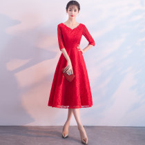 Dress / evening wear Annual meeting performance of wedding and adult party company Customized and non refundable xxlxlxxsmlxl Korean version U-neck