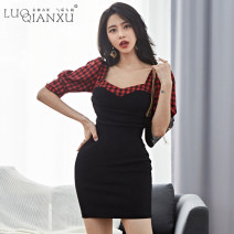Dress Spring 2020 Picture color S,M,L,XL,2XL Short skirt singleton  elbow sleeve commute square neck High waist lattice zipper Pencil skirt bishop sleeve Others 25-29 years old Type H Luo qianxu Korean version