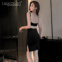 Dress Summer 2021 black S,M,L,XL Short skirt singleton  Sleeveless commute Crew neck High waist Solid color zipper One pace skirt routine camisole 18-24 years old Type H Luo qianxu Splicing 83-84 More than 95% brocade
