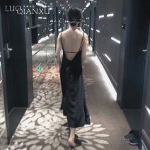 Dress Summer 2021 black S,M,L,XL Mid length dress singleton  Sleeveless commute V-neck middle-waisted Solid color zipper One pace skirt routine camisole 18-24 years old Type H Luo qianxu backless 8130cx-1 More than 95%