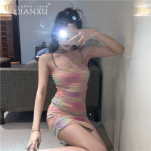 Dress Summer 2020 Picture color S,M,L,XL Short skirt singleton  Sleeveless commute square neck High waist Decor Socket Pencil skirt camisole 18-24 years old Type H Luo qianxu Korean version 8944cx-2 More than 95% brocade cotton