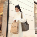 Dress Winter 2020 White, black S,M,L,XL singleton  Long sleeves commute High collar middle-waisted Solid color Socket One pace skirt routine 18-24 years old Luo qianxu 8564-1 cotton