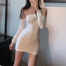 Dress Spring 2020 S,M,L,XL,2XL Short skirt singleton  Long sleeves commute One word collar High waist Solid color other Pencil skirt routine Breast wrapping 18-24 years old Type H Luo qianxu Korean version More than 95% brocade cotton