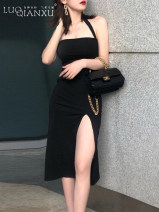 Dress Spring 2021 black S,M,L,XL longuette singleton  Sleeveless commute One word collar High waist Solid color One pace skirt camisole 18-24 years old Type H Luo qianxu zipper eight thousand five hundred and forty-one - three polyester fiber