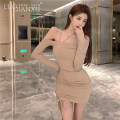 Dress Summer 2021 Apricot, black S,M,L,XL Short skirt singleton  Long sleeves commute One word collar middle-waisted Solid color Socket Pencil skirt routine Breast wrapping 18-24 years old Type H Luo qianxu 80-91-2 71% (inclusive) - 80% (inclusive)