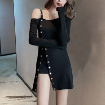 Dress Spring 2020 black S,M,L,XL,2XL Short skirt singleton  Long sleeves commute One word collar High waist Solid color Socket Irregular skirt routine straps 18-24 years old Type H Luo qianxu Korean version 8884-1