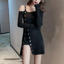 Dress Spring 2020 black S,M,L,XL,2XL Short skirt singleton  Long sleeves commute One word collar High waist Solid color Socket Irregular skirt routine straps 18-24 years old Type H Luo qianxu Korean version 8884-1