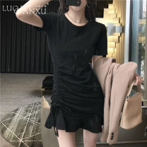 Dress Summer 2020 Gray, black S,M,L,XL,2XL Short skirt singleton  Short sleeve commute Crew neck High waist Solid color Socket Ruffle Skirt routine Others 18-24 years old Type H Luo qianxu Korean version 8277-10