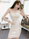 Dress Summer 2021 White, black S,M,L,XL Short skirt singleton  Sleeveless commute V-neck High waist Solid color Socket Pencil skirt routine camisole 18-24 years old Type H Luo qianxu backless 83-17 51% (inclusive) - 70% (inclusive) other cotton