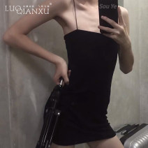 Dress Spring 2021 Black, blue, pink S,M,L,XL Short skirt singleton  Sleeveless commute V-neck High waist Solid color Socket routine camisole 18-24 years old Type A Luo qianxu backless 82-76 cotton