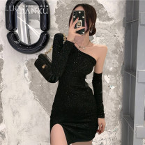 Dress Spring 2021 black S,M,L,XL Short skirt singleton  Long sleeves commute One word collar High waist Solid color Socket One pace skirt routine Oblique shoulder 18-24 years old Type H Luo qianxu Korean version Splicing 82-61 More than 95% polyester fiber