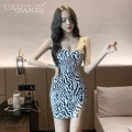 Dress Summer 2021 Zebra pattern S,M,L,XL Short skirt singleton  Sleeveless commute V-neck High waist Decor Socket routine camisole 18-24 years old Type H Luo qianxu backless 82-91-5 More than 95% other polyester fiber