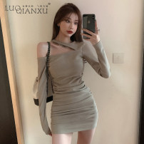 Dress Spring 2021 Khaki, grey S,M,L,XL Short skirt singleton  Long sleeves commute Crew neck High waist Solid color Socket One pace skirt routine 18-24 years old Type H Luo qianxu Korean version Splicing 8650-3 brocade polyester fiber