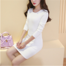 Dress Autumn of 2019 Black [genuine counter], white [genuine counter], gray [genuine counter], red [genuine counter] S,M,L,XL,2XL Short skirt singleton  Long sleeves commute Crew neck middle-waisted Solid color Socket Pencil skirt routine Others 18-24 years old Type H Luo qianxu Korean version other