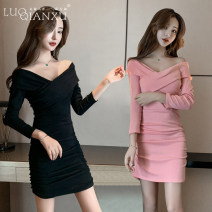 Dress Autumn 2020 Pink, black S,M,L,XL Short skirt singleton  Long sleeves commute One word collar High waist Solid color Socket One pace skirt routine Others 18-24 years old Type H Luo qianxu Korean version 8226-7 long sleeve