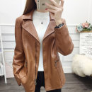 short coat Autumn of 2019 M L XL XXL Brown Army Green Black Long sleeves routine routine singleton  Straight cylinder commute routine tailored collar zipper Solid color Maple flower 96% and above Pocket zipper panel FD09029958 other PU Exclusive payment of tmall
