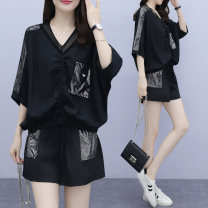Women's large Spring 2021 black L [recommended 100-120 kg] XL [recommended 120-140 kg] 2XL [recommended 140-160 kg] 3XL [recommended 160-180 kg] 4XL [recommended 180-200 kg] 5XL [recommended 200-210 kg] Other oversize styles Two piece set commute easy moderate Socket Short sleeve Solid color V-neck