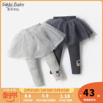 trousers Sikki baby female 80cm 90cm 100cm 110cm 120cm 130cm spring and autumn trousers leisure time There are models in the real shooting Leggings Leather belt High waist cotton Open crotch Cotton 94% polyurethane elastic fiber (spandex) 6% Class A Winter 2020 Chinese Mainland Zhejiang Province