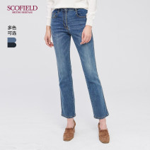 Jeans Winter of 2019 155 160 165 170 175 trousers Natural waist Straight pants SCOFIELD Cotton 99% polyurethane elastic fiber (spandex) 1% Same model in shopping mall (sold online and offline)