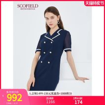Dress Autumn 2020 Navy Blue 165 155 160 170 175 Middle-skirt singleton  Short sleeve commute tailored collar Solid color zipper routine 30-34 years old SCOFIELD SFOWA3703Q More than 95% polyester fiber Polyester 100% Same model in shopping mall (sold online and offline)