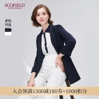 suit Autumn of 2019 Navy light beige 165 155 160 170 175 Long sleeves routine Straight cylinder tailored collar No buckle commute routine stripe SFJK93702Q 30-34 years old 96% and above polyester fiber SCOFIELD Same model in shopping mall (sold online and offline)