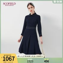 Dress Summer 2020 Navy Blue 155 160 170 175 165 Middle-skirt singleton  Long sleeves commute square neck Solid color zipper routine 30-34 years old SCOFIELD SFOWA2312Q More than 95% polyester fiber Polyester 100% Same model in shopping mall (sold online and offline)
