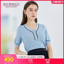 Wool knitwear Autumn 2020 165 155 160 170 175 Blue Gold Short sleeve Socket Viscose 51% (inclusive) - 70% (inclusive) Regular routine commute Straight cylinder V-neck routine Solid color Socket SFKWA8701Q 30-34 years old SCOFIELD Viscose (viscose) 61% polyamide (nylon) 15% others 24%