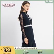 Dress Winter 2020 Navy Blue 155 160 170 175 165 Mid length dress singleton  Long sleeves stand collar middle-waisted Solid color 30-34 years old SCOFIELD SFOWA4910Q More than 95% polyester fiber Polyester 100% Same model in shopping mall (sold online and offline)