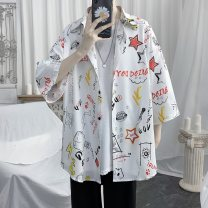 shirt Youth fashion CAESTYIECR S M L XL 2XL White black routine square neck elbow sleeve easy Other leisure summer jhggssf1 teenagers Polyester 100% like a breath of fresh air 2021 Color woven fabric Spring 2021 Asymmetry Pure e-commerce (online only)