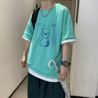 T-shirt Youth fashion routine S M L XL 2XL 3XL CAESTYIECR Short sleeve Crew neck Self cultivation Other leisure summer Polyester 55% cotton 45% teenagers routine like a breath of fresh air Slub yarn Spring 2021 Animal design Animal pattern tto  Pure e-commerce (online only)