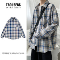 shirt Youth fashion CAESTYIECR M L XL 2XL Fresh blue coffee routine square neck Long sleeves easy Other leisure Four seasons dhjuytggh52 lovers Cotton 100% tide 2021 lattice Plaid Summer 2021 cotton