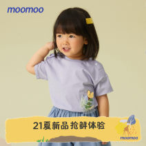 T-shirt moomoo female summer Short sleeve Crew neck Sweet There are models in the real shooting nothing Pure cotton (100% cotton content) other Cotton 100% Class A Sweat absorption Summer 2021 Six months 12 months 9 months 18 months 2 years 3 years 4 years 5 years 6 years