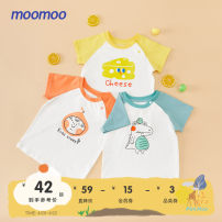 T-shirt moomoo 90cm 100cm 110cm 120cm 130cm neutral summer Short sleeve Crew neck leisure time There are models in the real shooting nothing other Interesting pattern Cotton 95% polyurethane elastic fiber (spandex) 5% Class A Sweat absorption Summer 2021