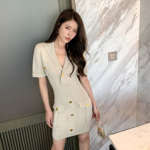 Dress Summer 2021 Light apricot S,M,L,XL Short skirt singleton  Short sleeve commute V-neck High waist Solid color Socket A-line skirt routine Others Other / other Korean version 51% (inclusive) - 70% (inclusive) other other