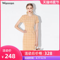 Dress Summer 2020 S M L XL Mid length dress singleton  Short sleeve street V-neck middle-waisted lattice zipper One pace skirt other 30-34 years old Type X Smile zipper 31% (inclusive) - 50% (inclusive) cotton Polyethylene terephthalate (polyester) 50% cotton 50% Europe and America