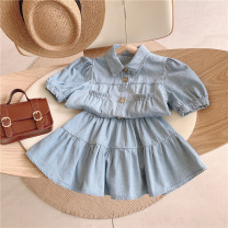 suit Other / other Suit, suit ~ pre sale 110cm / tag 7120cm / tag 9130cm / tag 11140cm / tag 13150cm / tag 15160cm / tag 17 female summer Europe and America Short sleeve + skirt 2 pieces routine No model Single breasted nothing Solid color Denim children Expression of love other Other 100%