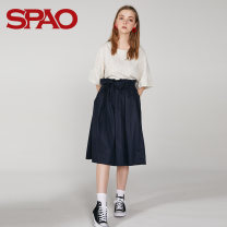 skirt Summer of 2018 S M L Beige 35 Navy 59 Mid length dress commute Natural waist 25-29 years old SPWH824G33 More than 95% SPAO cotton lady Cotton 100% Same model in shopping mall (sold online and offline)