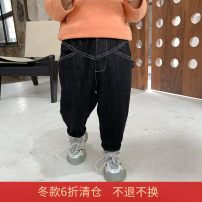 trousers Other / other male 80cm,90cm,100cm,110cm,120cm,130cm black winter trousers Korean version There are models in the real shooting Jeans Leather belt middle-waisted cotton Don't open the crotch Harlem Plush jeans