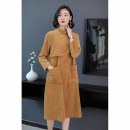 Dress Winter of 2018 khaki 3XL S M L XL XXL Mid length dress singleton  Long sleeves street High collar Loose waist Solid color Socket A-line skirt routine Others 35-39 years old Type H Kordsefe / Han Shifei Patch pocket stitching buttons More than 95% corduroy cotton Cotton 100% Europe and America