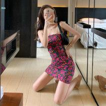 Dress Summer 2021 Graph color S,M,L,XL Short skirt Sleeveless One word collar High waist zipper camisole Type A printing