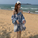 Dress Summer 2021 Blue tie dye S,M,L Short skirt singleton  Long sleeves Sweet One word collar High waist Decor Socket A-line skirt puff sleeve camisole 18-24 years old Type A 51% (inclusive) - 70% (inclusive) Chiffon polyester fiber Bohemia